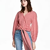 H&M Tie Cotton Blouse