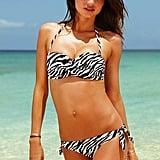 Miranda Kerr in a zebra-print bikini.