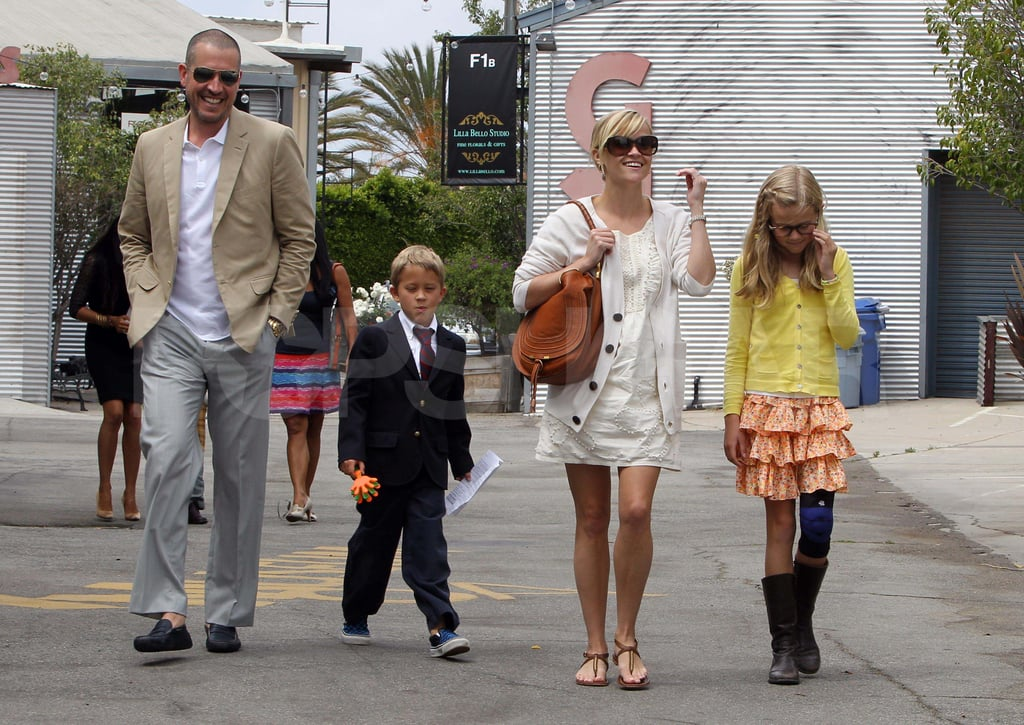 Reese Witherspoon, Jim Toth, Ava, and Deacon went for a family stroll in April 2011 in LA.