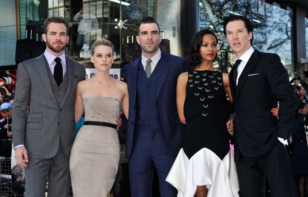 The Star Trek Into Darkness cast posed together at the UK premiere.