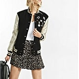 Express Pin Embellished Metallic Sleeve Varsity Jacket ($178)