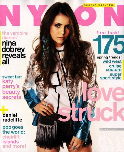 "Nina Dobrev wore an embellished jacket from McQ for her February 2012 Nylon cover. The Vampire Diaries star also modeled looks from Acne, Jeremy Scott, and Ralph Lauren inside the magazine and worked with her stylist Riawna Capri to create a ""vintage Vegas cowgirl"" vibe. Nina's quickly becoming a favorite for designers to dress, and for her appearance at the People's Choice Awards earlier this month, she chose a green Elie Saab. The dress was not only beautiful, but apparently comfortable too. Nina was still wearing it when she caught a flight back to Atlanta with boyfriend Ian Somerhalder after the show."