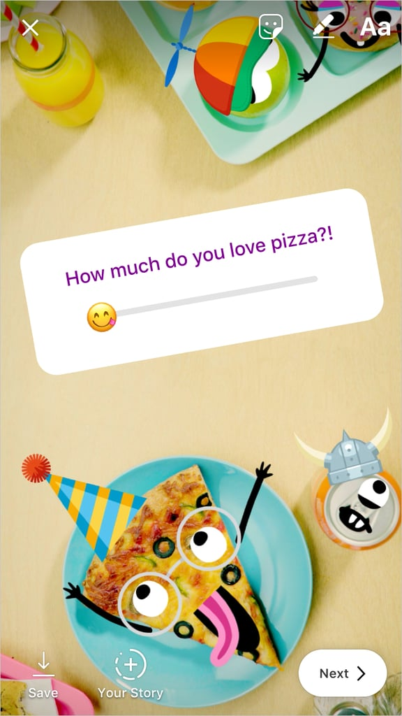 "Instagram just introduced another fun way to poll your followers for all their esteemed opinions on important matters like ""How bad would it be if I ate this box of expired mac and cheese?"" or ""Just how fire is this selfie I just took?"" The new emoji slider allows you to ask these crucial questions and get appropriately nuanced responses from your friends.  Here's how it works: You can add the emoji slider feature to your Instagram Stories by opening the sticker menu. The slider is located to the right of the standard yes-or-no poll sticker. Next, write out your question and select the appropriate emoji that matches your inquiry. Followers can then drag the emoji to the right or left to reflect their answers. They'll also be able to see the current average based on how other followers have responded.  The fun announcement comes shortly after Instagram also rolled out a feature that allows users to directly share Spotify songs onto Stories. Ahead, get a better idea of how the feature works before trying it out yourself.       Related:                                                                                                           So Long, Screenshots! Instagram Launched the Spotify Feature You've Been Waiting For"
