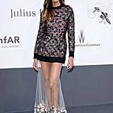Joan Smalls's would-be Givenchy minidress turned red carpet ready, thanks to a sheer, embroidered skirt that flowed to her ankles.