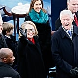 Hillary and Bill Clinton waved to the crowds.