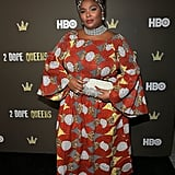 Lizzo let her love for patterns and colour shine through at the HBO 2 Dope Queens LA Slumber Party Premiere in this square-neck dress, which she paired with silver sparkles on her sneakers and her cute clutch.