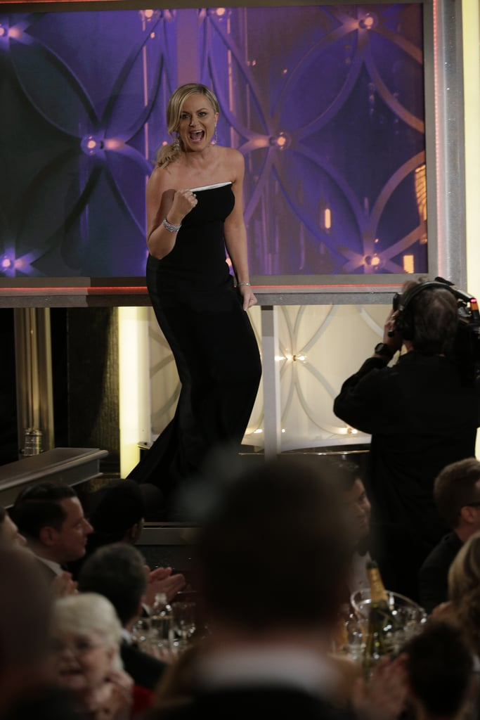Amy Poehler's animated walk to the stage to accept her 2014 Golden Globe Award for best actress in Parks and Recreation was a moment to remember.