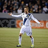 David Beckham celebrated a goal for the Galaxy.