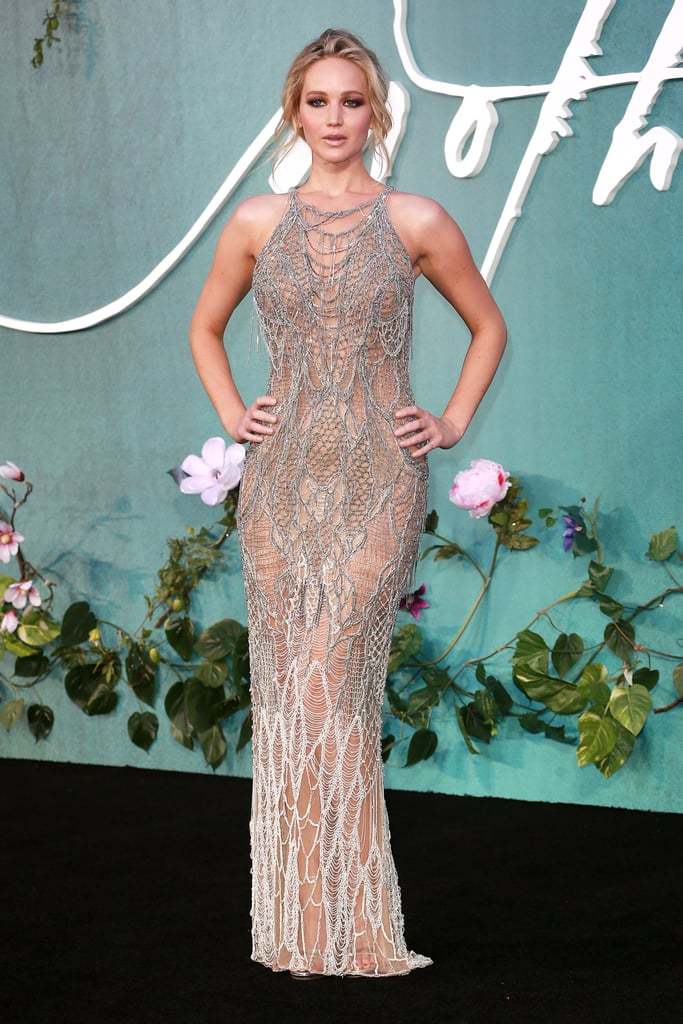 Jennifer Lawrence's netted Atelier Versace number looked stunning with a relaxed updo at the Mother! UK premiere in September 2017.