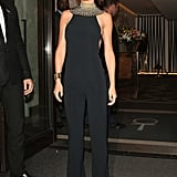 For her StormFlower Noir fragrance launch, Cheryl topped a Narciso Rodriguez jumpsuit with a bold gold beaded choker.