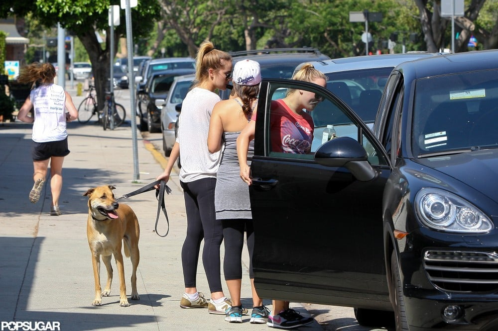 Lauren Conrad chatted with friends in LA.