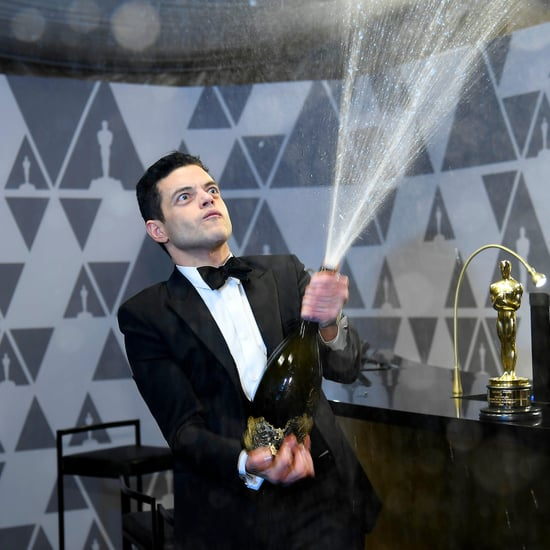 Rami Malek Spraying Champagne at the 2019 Oscars