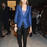 Maggie Grace looked sleek and sophisticated in a satin cobalt blazer and black leather pants at the Richard Chai Love show.