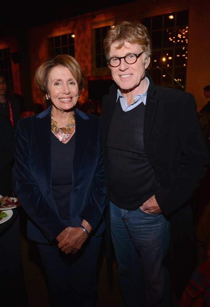 "Robert Redford posed with Nancy Pelosi on Friday at the ""An Artist at the Dinner Table"" event at Sundance."