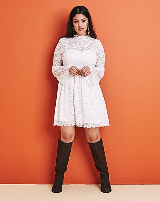Simply Be High Neck Long Sleeve Lace Dress (£28)