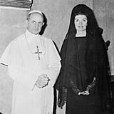 And Her Look Gave Us Major Flashbacks to When Jackie Kennedy Wore This Oleg Cassini Ensemble While Meeting Pope Paul VI in 1966
