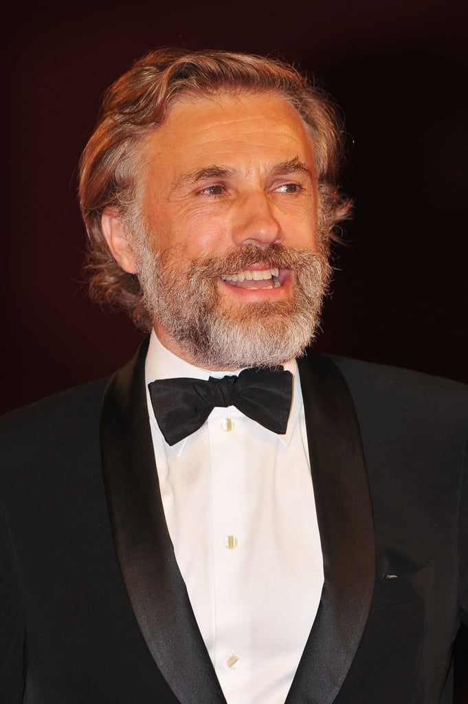 Christoph Waltz sported a salt-and-pepper beard in Venice.