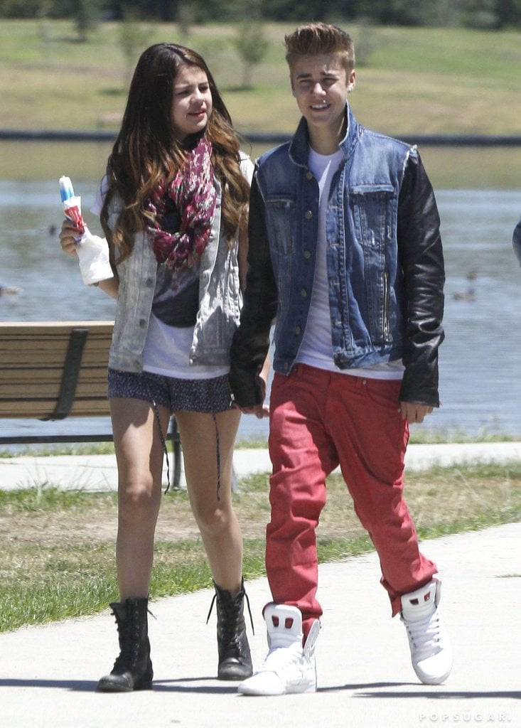 Selena Gomez and Justin Bieber at Lake Balboa November ...