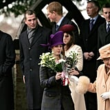 In 2005, Queen Elizabeth II accepted flowers from well-wishers while Princess Beatrice and Princess Eugenie helped out.