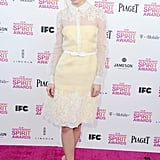 Brit Marling stepped out in a ladylike pointed-collar Valentino Resort '13 dress and quirkier printed pumps.