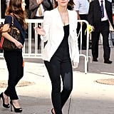 On Wednesday Sept. 5, Emma wore Tom Ford wedges for her appearance on Late Show with David Letterman in New York City.