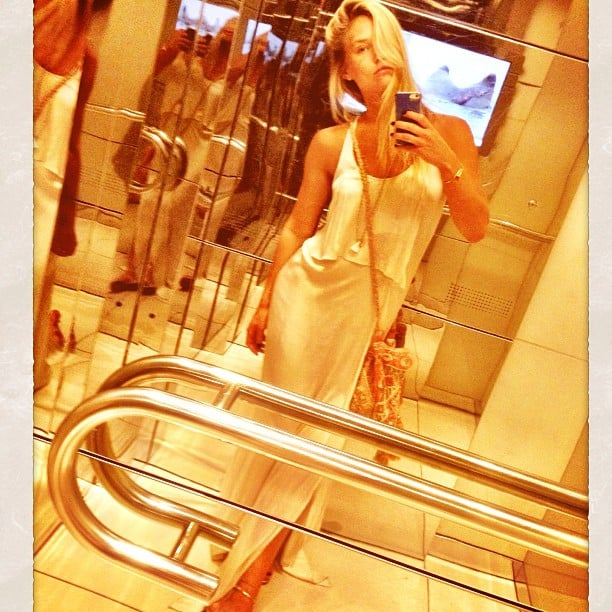 Bar Refaeli paused for a mirror selfie on her way to an event. Source: Instagram user barrefaeli