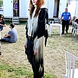 Florence Welch sported a fringed outfit.
