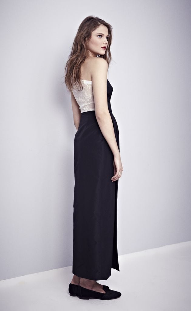 For this Misha Nonoo black one-shouldered gown, it's all about the white-French-lace back detail.