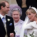 Prince Edward and Sophie Rhys-Jones  The Bride: Sophie Rhys-Jones, a PR professional. The Groom: Prince Edward, the youngest son of Queen Elizabeth II. When: June 19, 1999. Prince Edward is the only child of the queen without a divorce. Where: St. George's Chapel at Windsor Castle.