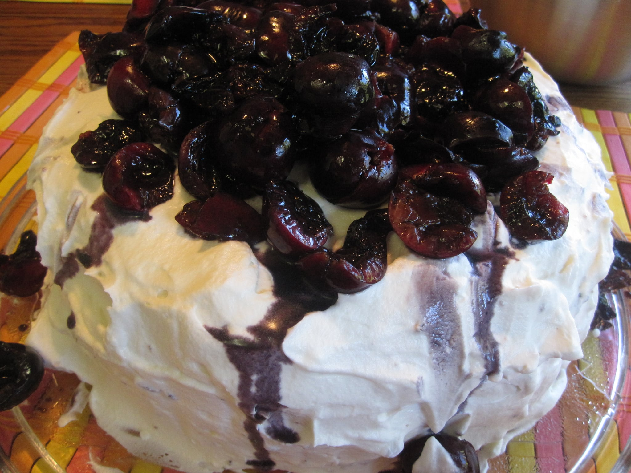 Chocolate Cake With Cream Cheese Frosting And Cherries