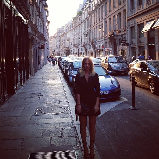 Lara Bingle looked right at home in a little black dress in the back streets of Paris. Source: Instagram user mslbingle