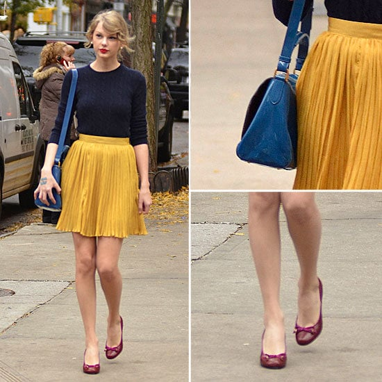 Pictures of Taylor Swift's Style: Steal her Pleated Skirt and Preppy Cable Knit Look, via ShopStyle Australia