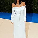 Kim wore a Vivienne Westwood Couture dress in a similar silhouette to the 2017 Met Gala.