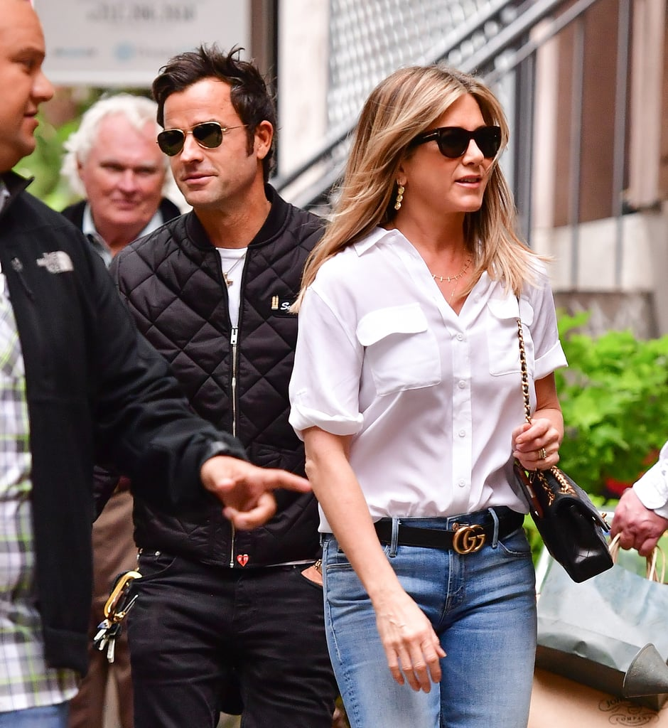 "After having John Krasinski and Emily Blunt over at their NYC apartment to watch the presidential debate on Monday, Jennifer Aniston and Justin Theroux were seen making their way through the busy streets of Manhattan. On Wednesday, the couple, who recently celebrated their one-year wedding anniversary, kept things casual in sunglasses and jeans and appeared to be in a good mood as they exited a building.   Jennifer's outing comes just two days after Justin weighed in on Brad Pitt and Angelina Jolie's recent split. In an interview with Business Insider, the actor called it ""terrible news"" and said it was ""nonsense"" that his wife was being thrown into the middle of the drama. Jennifer's BFF, Courteney Cox, also came to her defense on Tuesday, telling ET she isn't happy with people dragging her friend into Brad and Angelina's split, adding, ""It's not about her."""