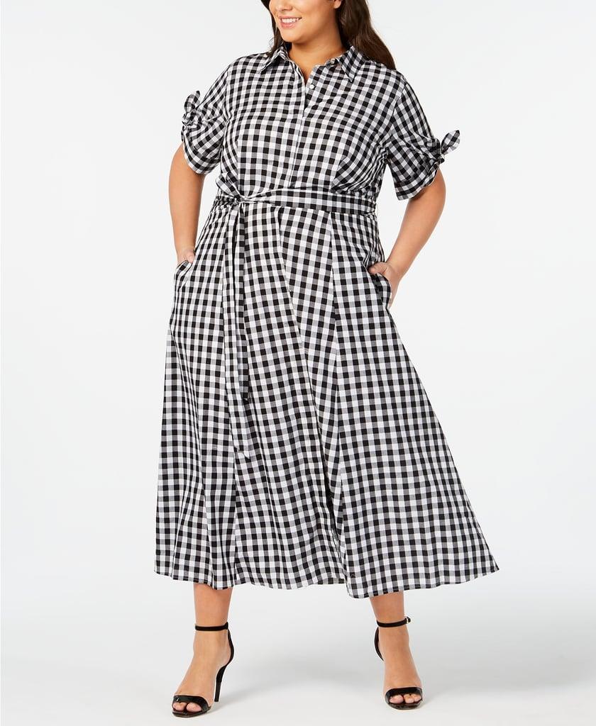 Calvin Klein Gingham Midi Shirtdress