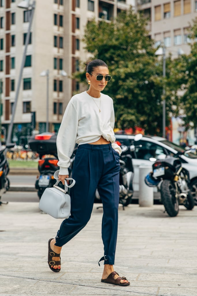 Remix tailored trousers when you show a little midriff and add Birkenstocks.