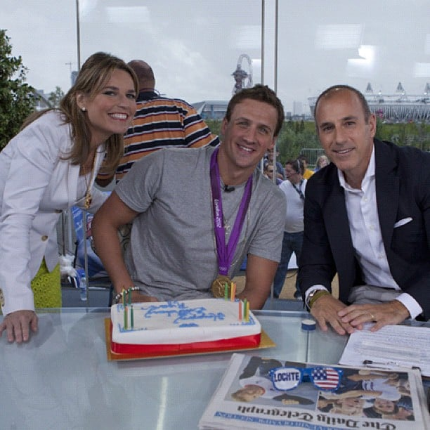 Ryan Lochte got a cake for his birthday on the Today show. Source: Twitter user todayshow