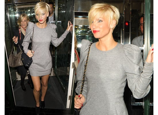 Photos of Sarah Harding out in London in Grey Jumper Dress with Big Shoulders 2009-09-17 01:13:29