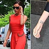 "The tattoo on Victoria Beckham's left wrist reportedly says ""VIII-V-MMVI,"" or May 8, 2006, the day she renewed her vows with David Beckham. According to reports, David has the same tattoo."