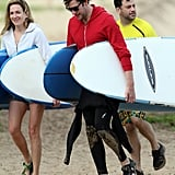John Krasinski, Jimmy Kimmel, and Molly McNearney made their way to the ocean.