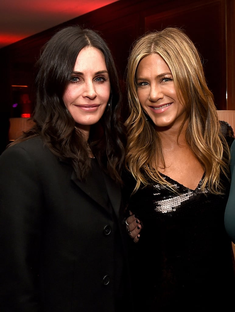 "Jennifer Aniston stepped out for the LA premiere of her new movie Dumplin' on Thursday night, and you bet Courteney Cox showed up too, because that's what BFFs do. Despite hitting the red carpet separately, the former Friends costars linked up inside and snapped photos with Jennifer's costar Danielle Macdonald.  It's been 14 years since Friends officially went off the air (though you can still watch it on Netflix), but there's still the possibility of a reunion. During Jennifer's recent stop on The Late Late Show With James Corden, the actress proposed a genius pitch for a Friends and Golden Girls crossover reboot. ""The girls always say we would love to do it again, and the boys are a little less excited about it for some reason,"" Jennifer explained. ""So we've decided that, and I've said this before, we'll just do a remake of the Golden Girls in like 40 years. Just trying to go out on wicker chairs."" With all the reboots we've seen this year, this one actually doesn't sound like a bad idea!       Related:                                                                                                           Jennifer Aniston Confronts Jimmy Kimmel About His Daughter Pooping in Her Yard, and LOL"