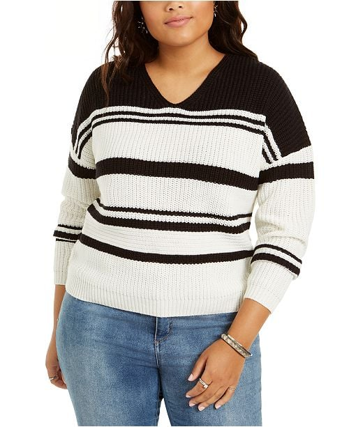 Planet Gold Trendy Striped V-Neck Lace-Up Back Sweater