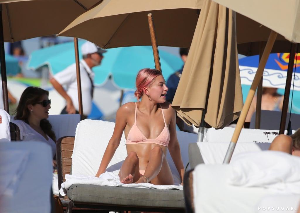 Hailey Baldwin Pink Bikini