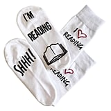 'Shhh I'm Reading' Funny Ankle Socks