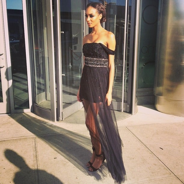Jourdan Dunn looked stunning in a black custom-made Topshop gown. Source: Instagram user topshop