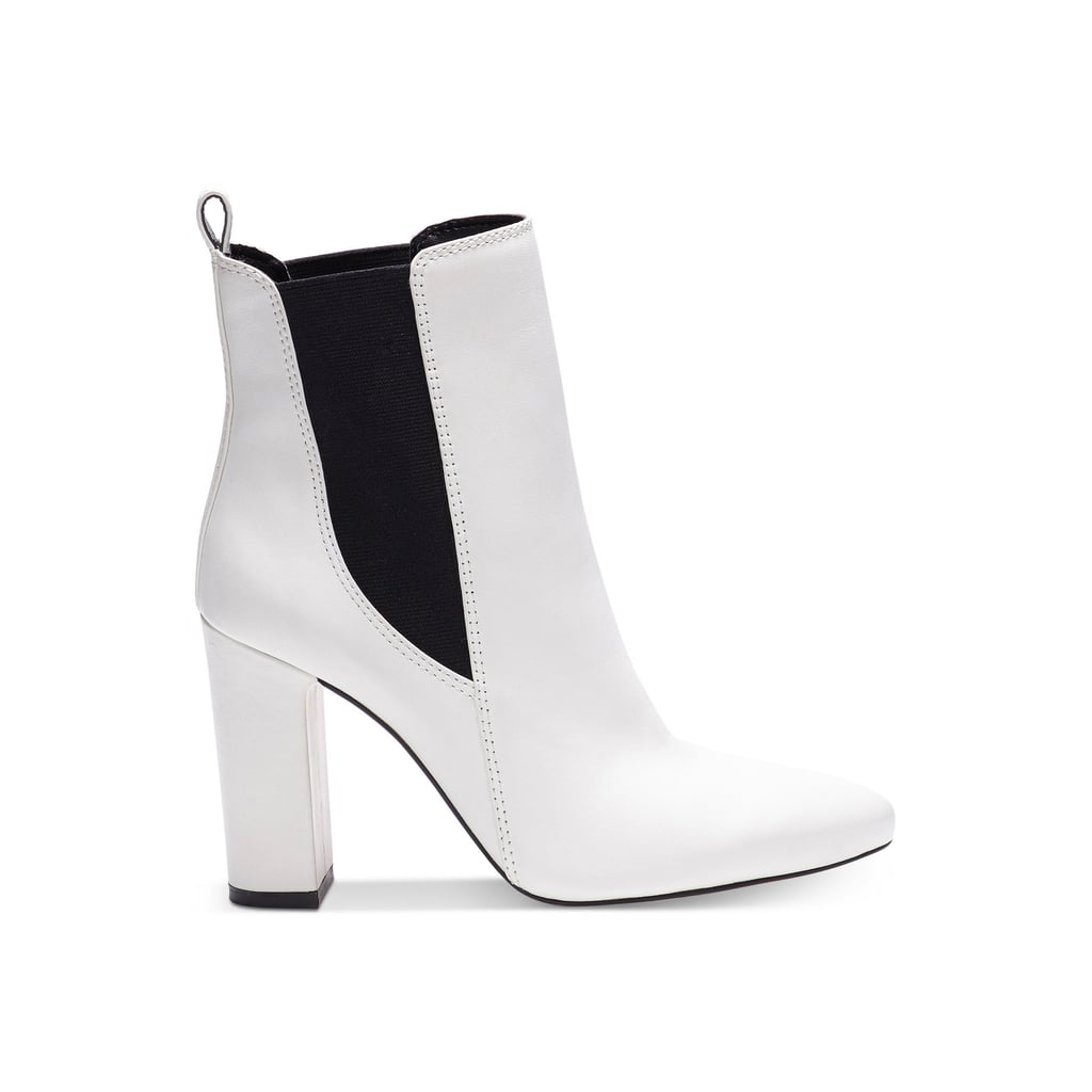 White leather ankle boots