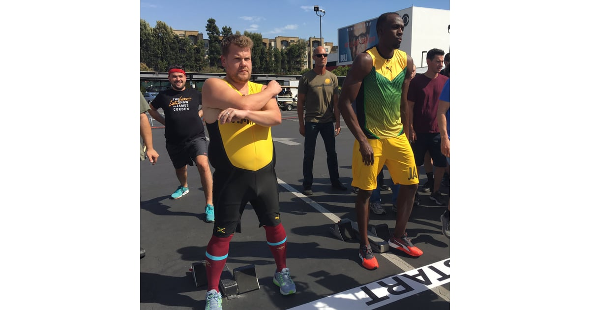 Usain Bolt Races James Corden Video Popsugar Fitness