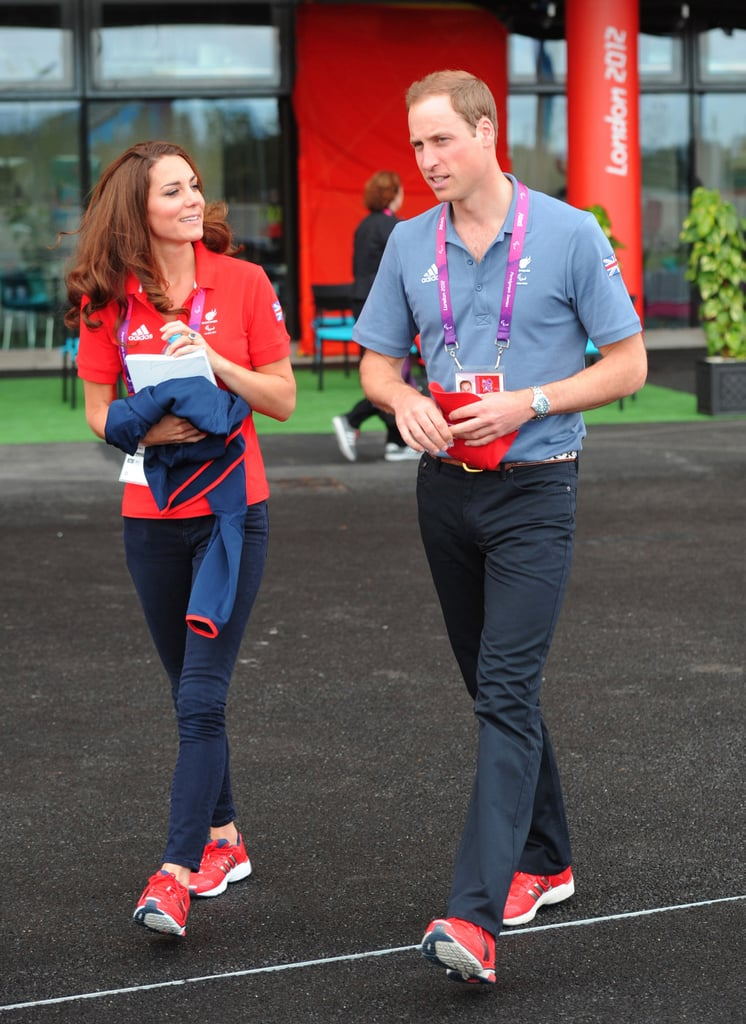 Prince William and his wife, Kate, attended the first day of the London Paralympics events this morning. They were at London's Velodrome, seated with William's aunt Sophie, Countess of Wessex, and her daughter, Lady Louise Windsor, to watch a cycling event. Kate and William are close with Louise —she was even one of the flower girls at their April 2011 royal wedding. Kate and William were later seen leaving the stadium together, wearing matching Adidas sneakers. Last night, we saw William and Kate at the Paralympic opening ceremony along with Queen Elizabeth. William's brother, Harry, who's dealing with fallout from his nude Vegas picture scandal, did not attend despite reports he might. Harry may emerge to watch later events during the Paralympics, while William and Kate are both expected in the stands at various events over the next week.