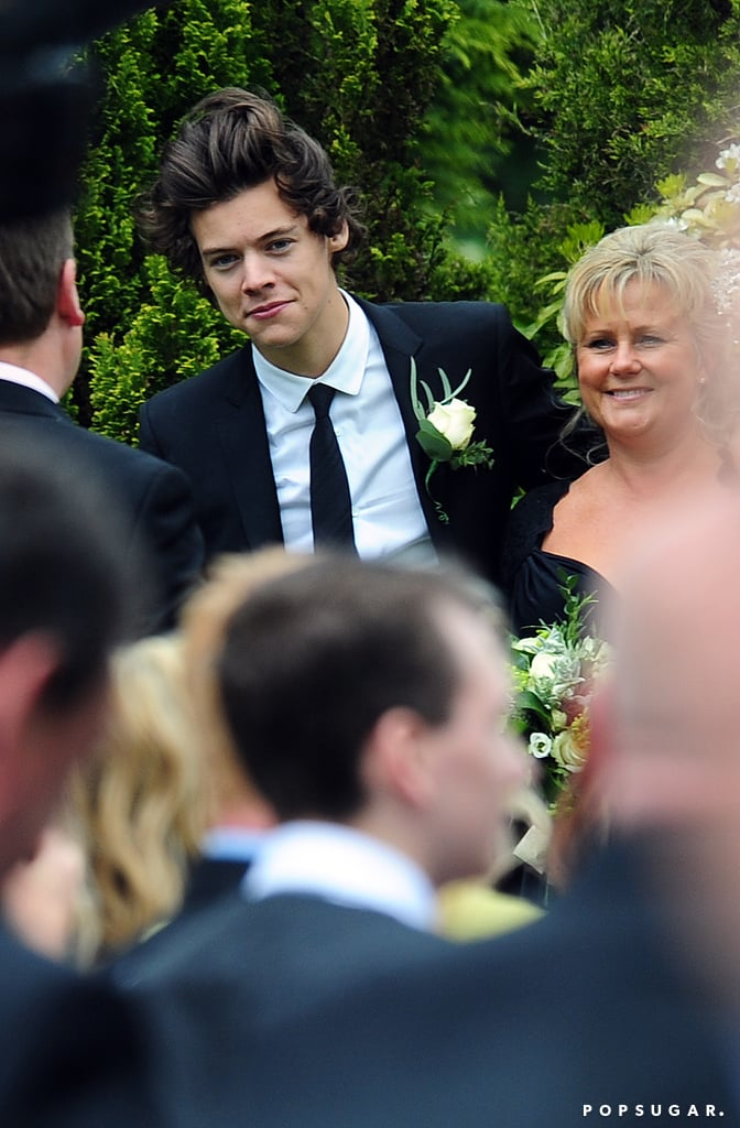 Harry Styles posed at his mom's wedding.