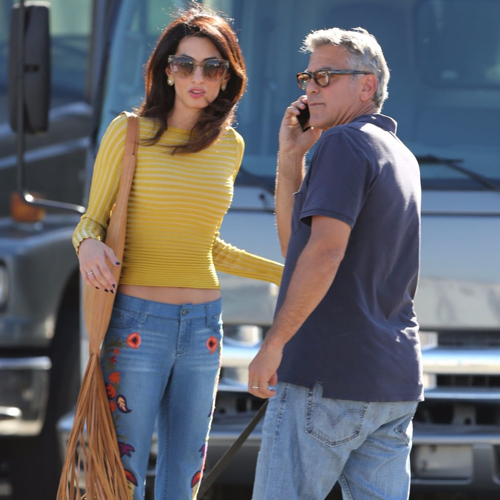 Amal Clooney in Alice and Olivia Embroidered Jeans Oct. 2016 | POPSUGAR  Fashion